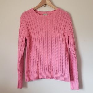 L.L. Bean - Cable Knit Sweater - Pink - Large